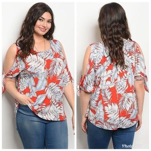 Tops - Plus Size Leaf Print Cold Open Shoulder Top Blouse